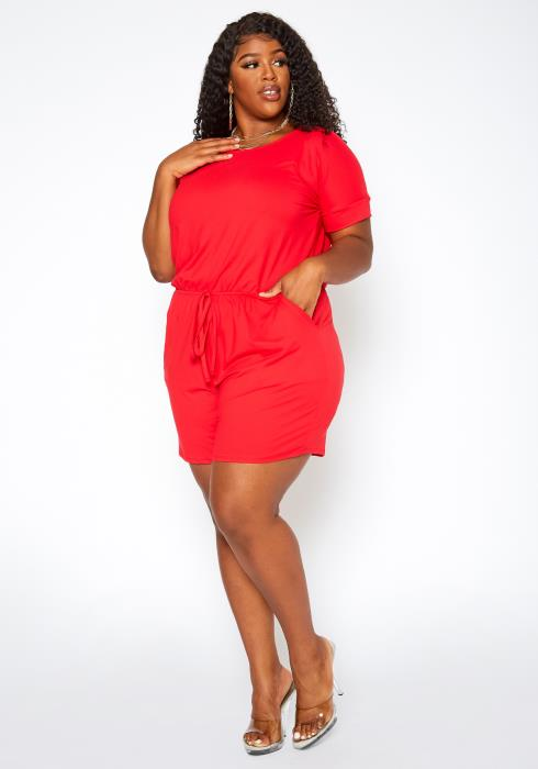 Asoph Plus Size Casual T Shirt Romper
