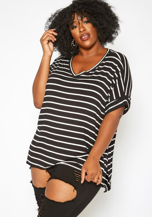 Asoph Plus Size Casual Striped V Neck T Shirt