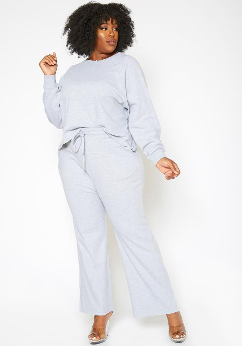 Asoph Plus Size Chill Mode Sweater & Flare Pants Lounge Set