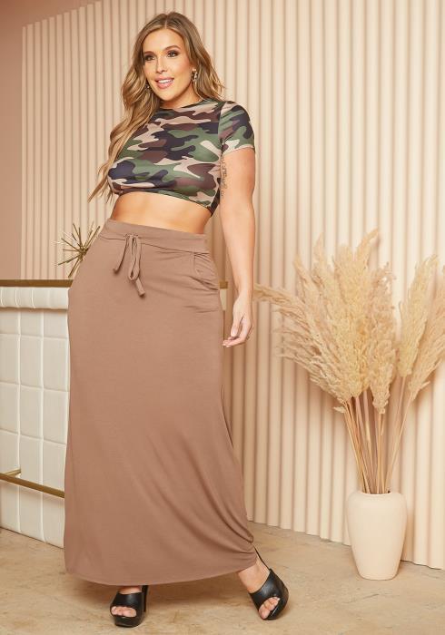 Asoph Plus Size Comfy Waistline Drawstring Maxi Skirt