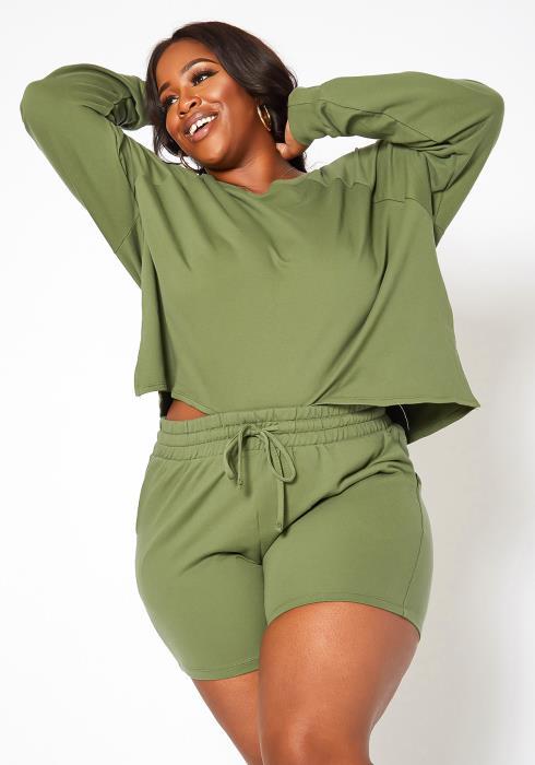 Asoph Plus Size Homebody Crew Neck Sweater & Shorts Set