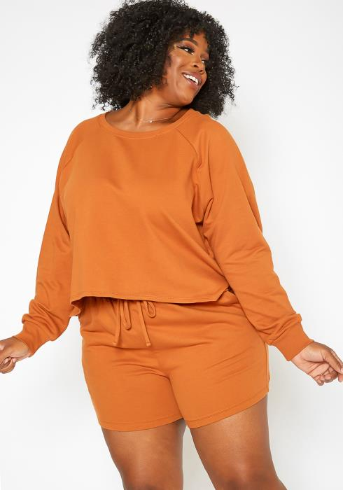 Asoph Plus Size Homebody Crew Neck Sweater & Shorts Set