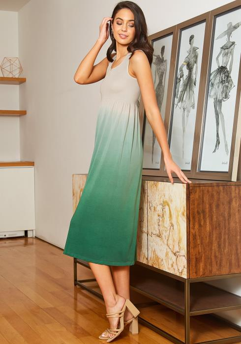Eco Zone Gradient Color Sleeveless Midi Dress