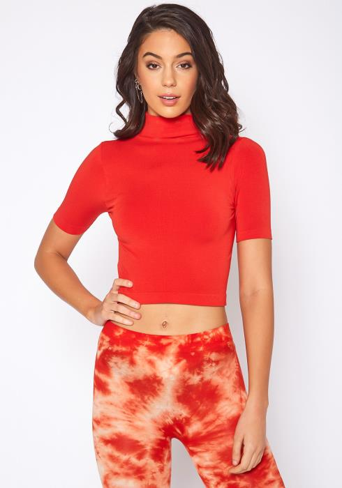 Eco Zone High Neck Fitted Crop Top