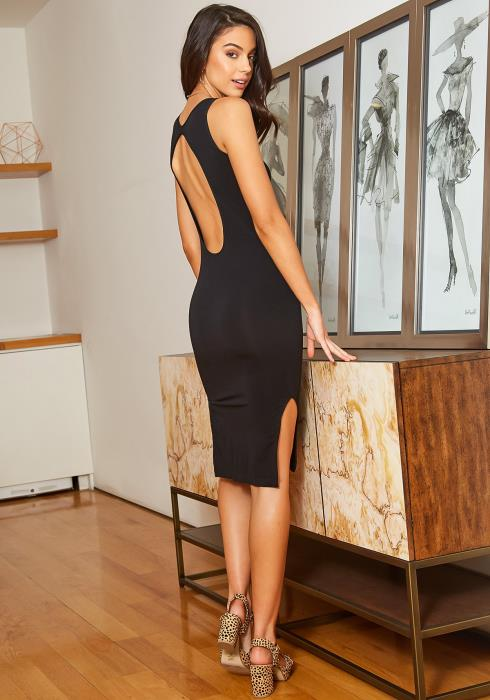 Eco Zone Open Back Bodycon Midi Dress