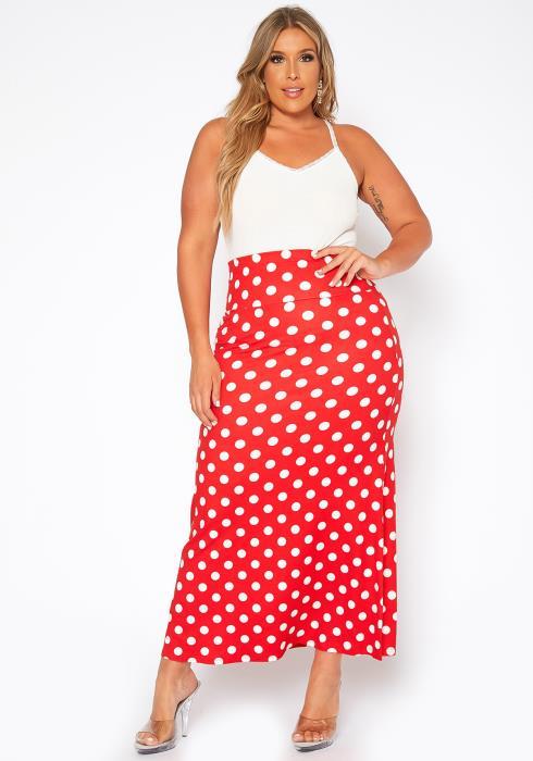 Asoph Plus Size Polka Dot Print Maxi Skirt