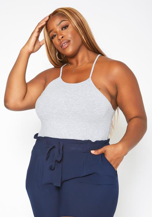 Asoph Plus Size Ribbed Knit Cami Bodysuit