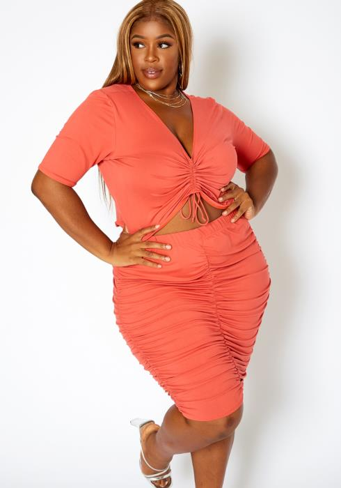 Asoph Plus Size Ruched Crop Top & Pencil Skirt Matching Set