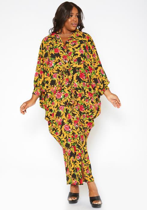Asoph Plus Size Rose Golden Button Front Maxi Dress