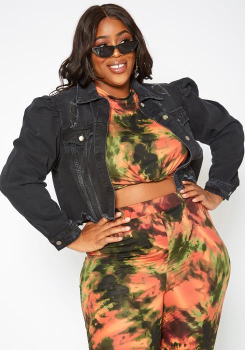 Asoph Plus Size Black Wash Crop Denim Jacket