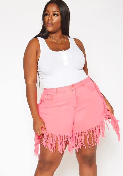 Asoph Plus Size Neon Fringe Distressed Denim Shorts
