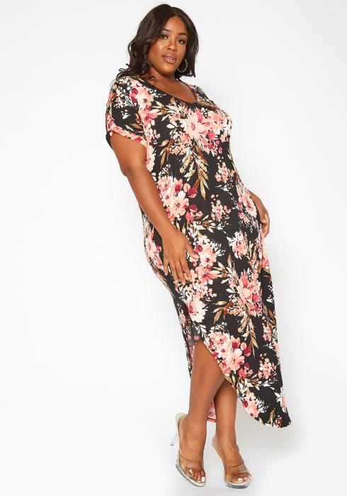 Asoph Plus Size Spring Floral Print Tee Shirt Maxi Dress