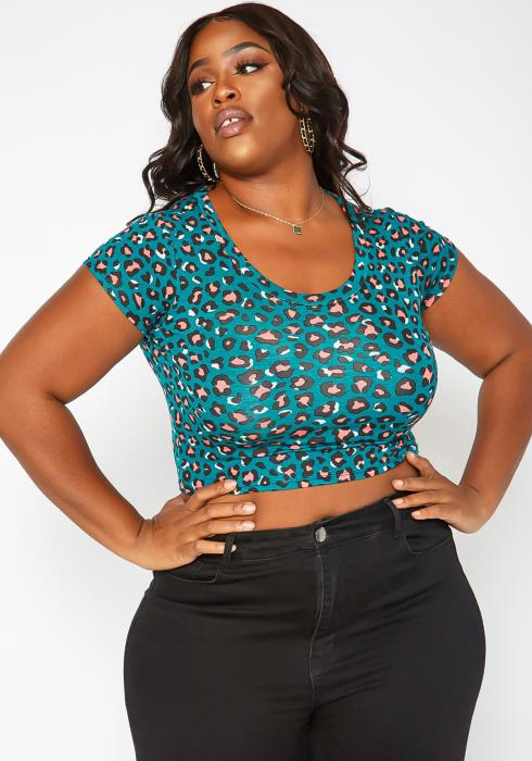 Asoph Plus Size Leopard Print Crop Top