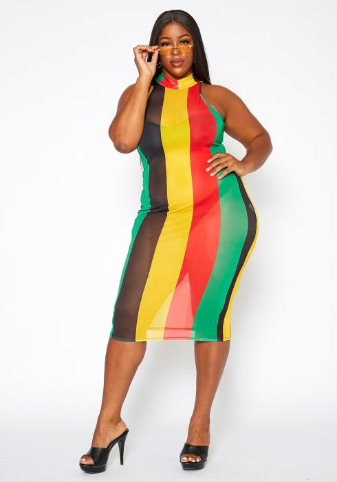 Asoph Plus Size Rasta Colors Mesh Midi Dress