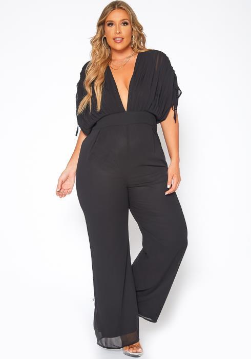 Asoph Plus Size Drawstring Hem Dolman Sleeve Jumpsuit