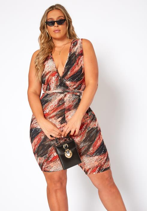 Asoph Plus Size Unforgettable Multi Print Bodycon Romper