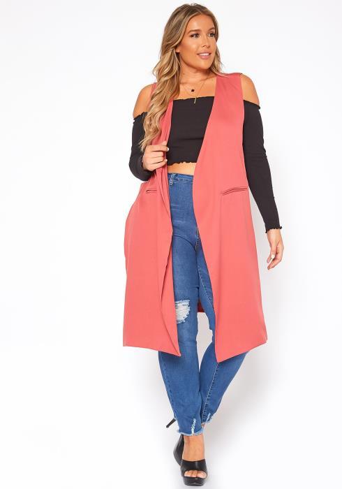 Asoph Plus Size Slit Hem Open Front Longline Vest