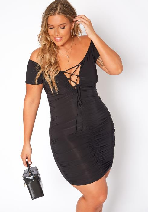 Asoph Plus Size Cross Lace Front Ruched Bodycon Mini Dress