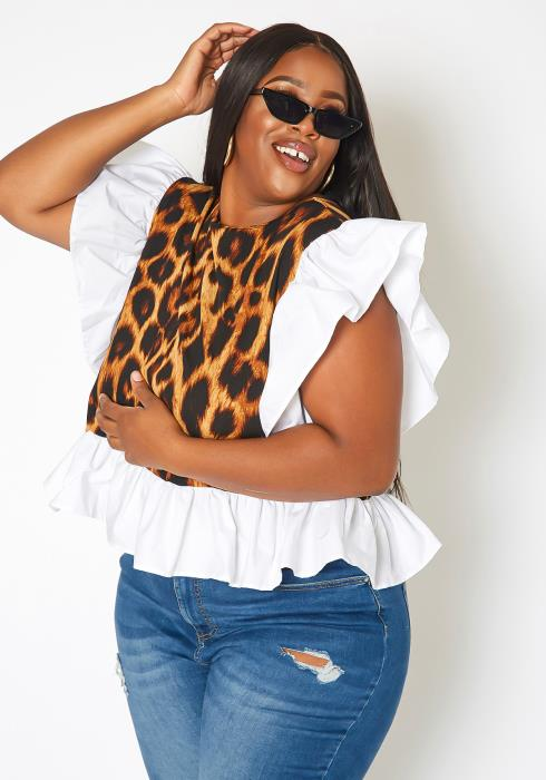 Asoph Plus Size Leopard Print Ruffle Trim Fashion Top