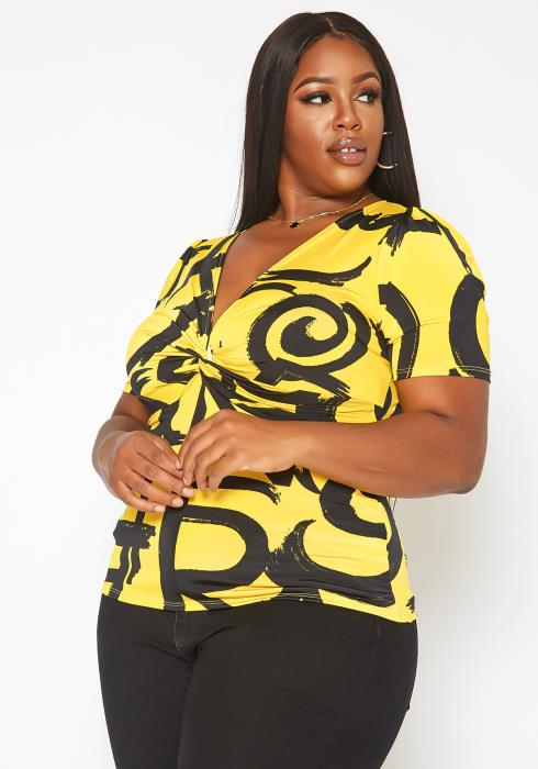 Asoph Plus Size Twist Hem V Neck Print Top