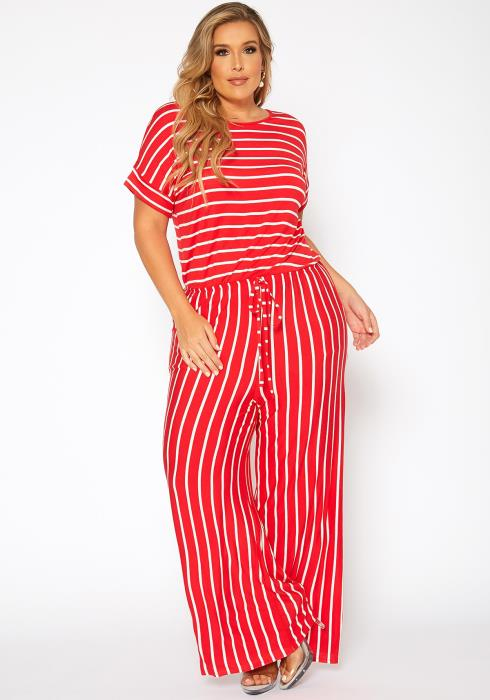 Asoph Plus Size Striped Relaxed Fit Jumpsuit