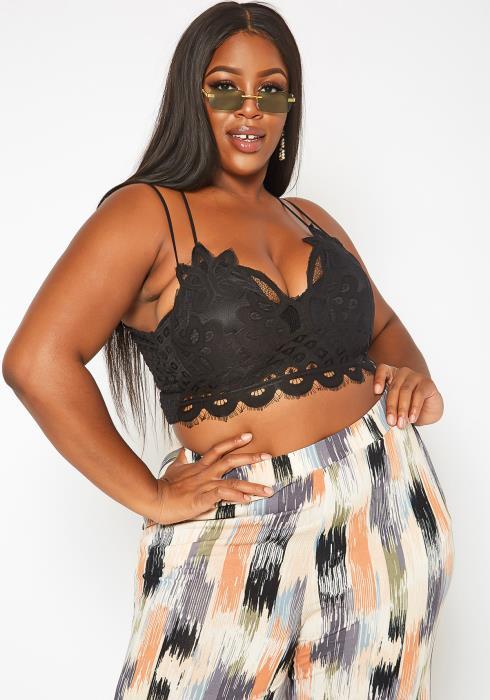Asoph Plus Size Crochet Cami Crop Top
