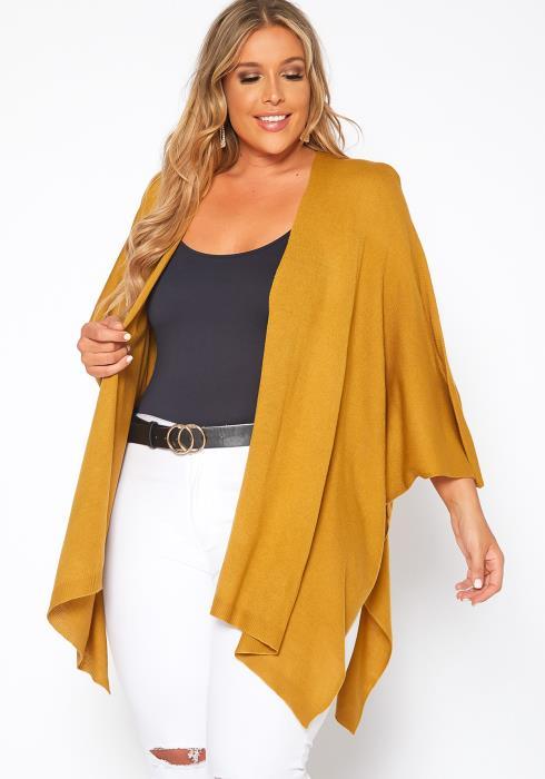 Asoph Plus Size Ribbed Knit Kimono Cardigan