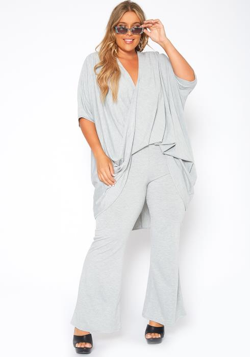 Asoph Plus Size Draped Top & Flare Pants Set