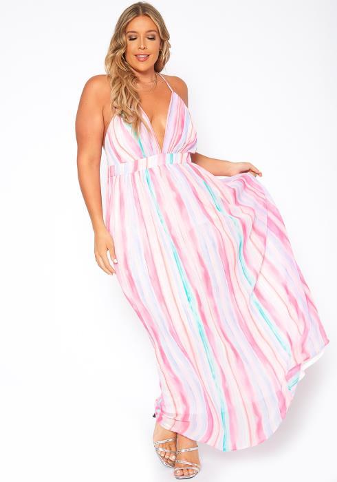 Asoph Plus Size Pastel Gradient Fit & Flare Chiffon Maxi Dress