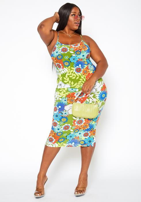 Asoph Plus Size Wild Flower Print Bodycon Midi Dress