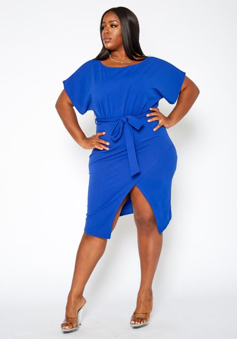 Asoph Plus Size Centered Split Hem Belted Midi Dress