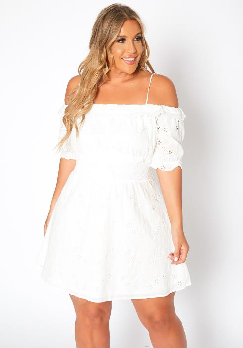 Asoph Plus Size Off Shoulder Keyhole Pattern Mini Dress
