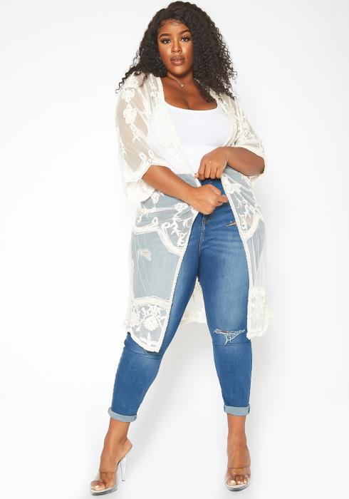 Asoph Plus Size Floral Embroidered Mesh Duster Cardigan