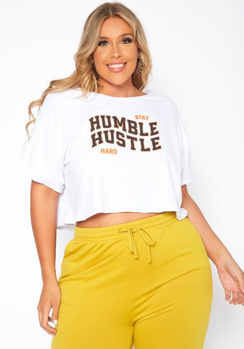 Asoph Plus Size Stay Humble Graphic Print Crop Top