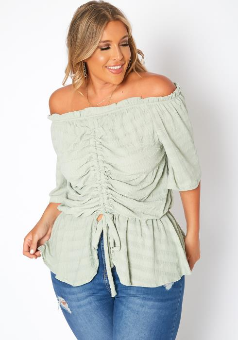 Asoph Plus Size Rustic Drawstring Hem Off Shoulder Blouse