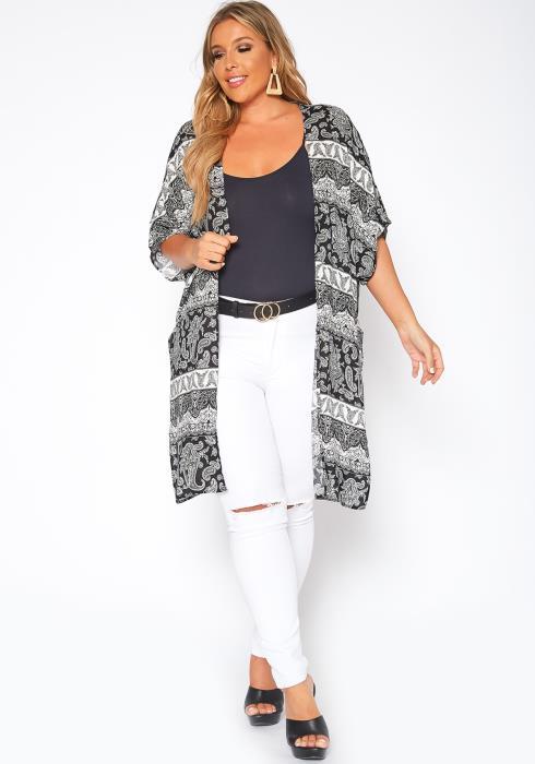 Asoph Plus Size Paisley Print Kimono Cardigan