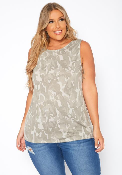 Asoph Plus Size Camo Print Open Back Tank Top