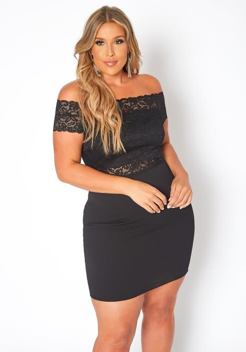 Asoph Plus Size Lace Trim Off Shoulder Bodycon Mini Dress