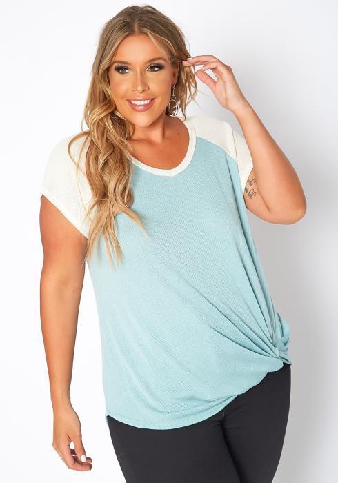 Asoph Plus Size Waffle Knit Baseball Sleeve Tee Shirt