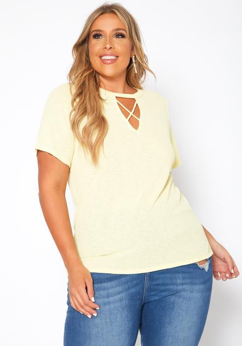 Asoph Plus Size Waffle Knit Crew Neck Tee Shirt
