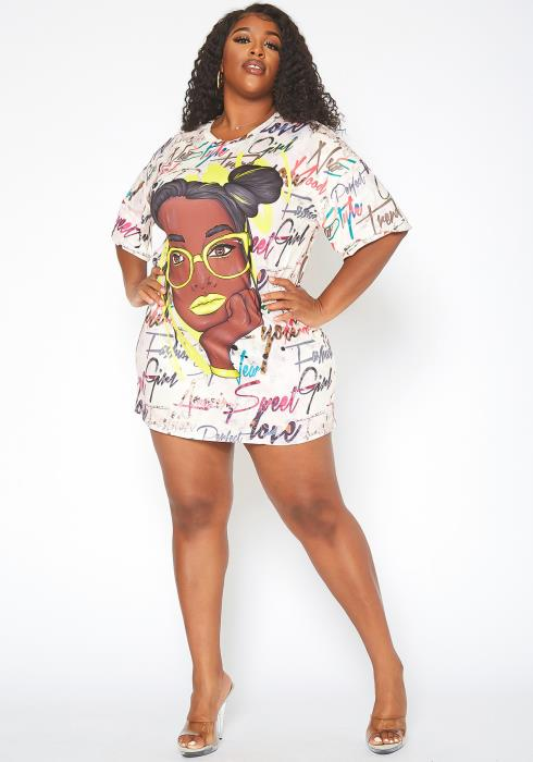 Asoph Plus Size Neon Graphic Tee Shirt Mini Dress