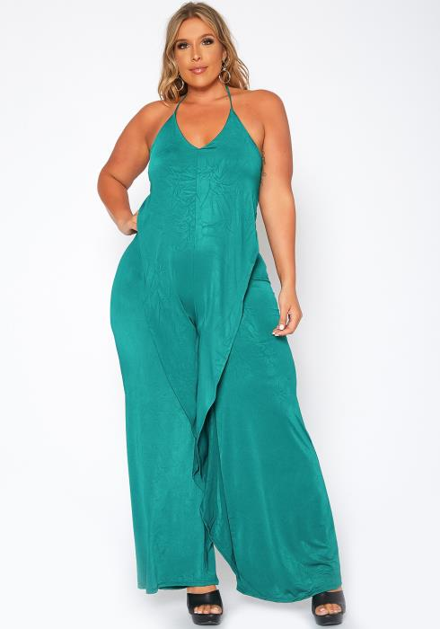 Asoph Plus Size Wide Flare Halter Neck Jumpsuit