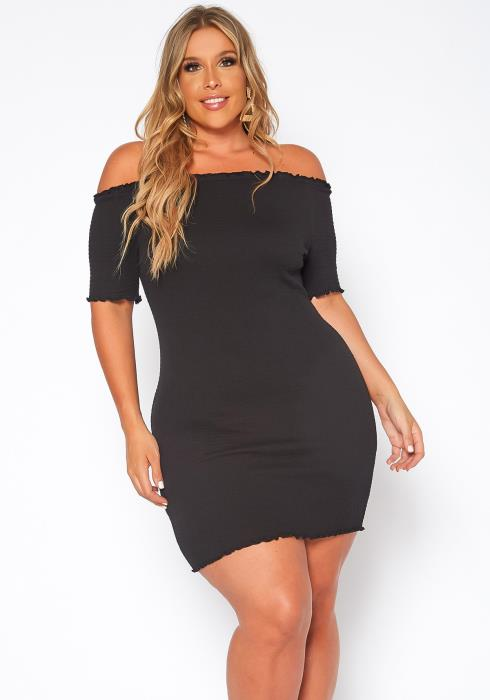 Asoph Plus Size Smocked Off Shoulder Bodycon Mini Dress