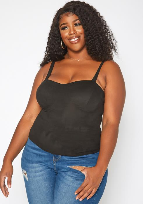 Asoph Plus Size Suede Cami Top