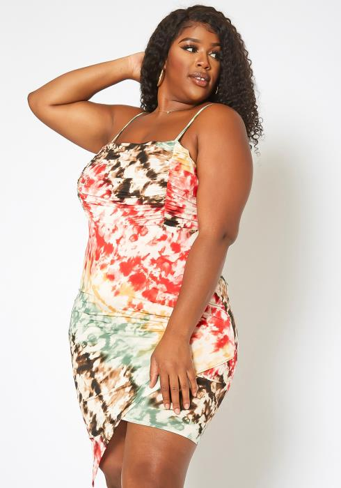 Asoph Plus Size Tie Dye Asymmetric Bodycon Mini Dress