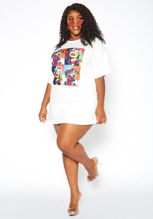 Asoph Plus Size Forever Icons Tee Shirt Mini Dress