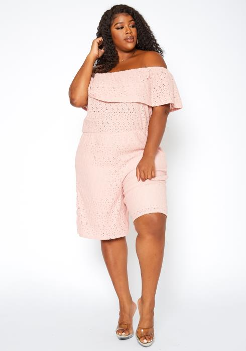 Asoph Plus Size Keyhole Pattern Off Shoulder Romper