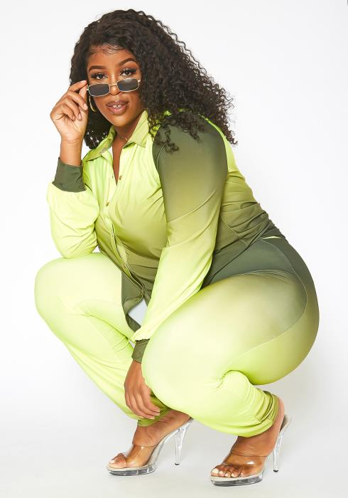 Asoph Plus Size Try Your Luck Gradient Two Piece Set