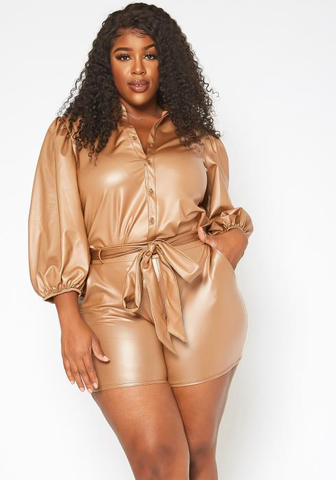 Asoph Plus Size Faux Leather Two Piece Set
