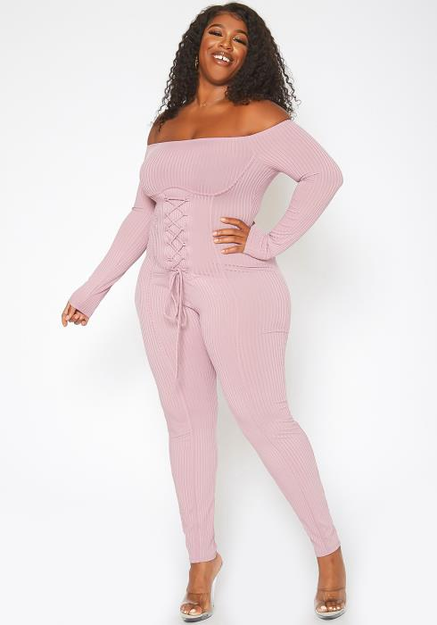 Asoph Plus Size Corset Effect Off Shoulder Bodycon Jumpsuit